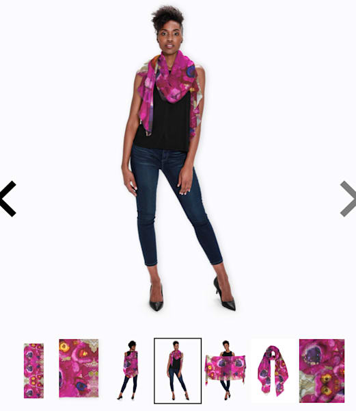 """Modal scarf- Handprinted modal scarf with Mirrored Magenta and Poppies Image 27""""x78"""" """