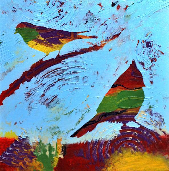Birds On Branch Art   V Creative Studio