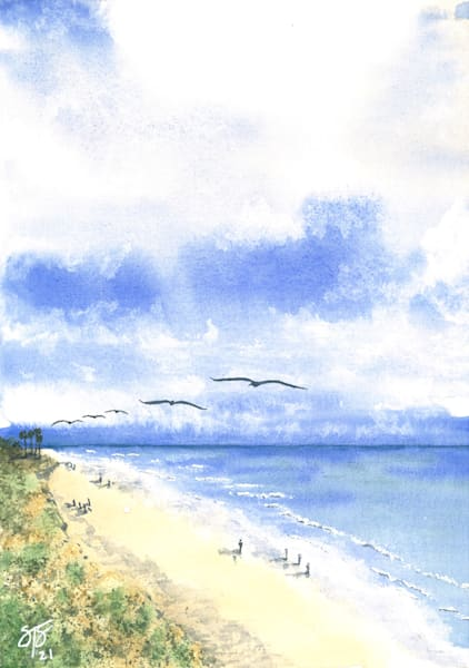 Spring Beach Day - watercolor painting
