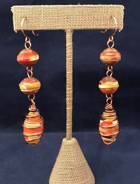 Handmade Paper Bead and Copper Wire Dangle Earrings