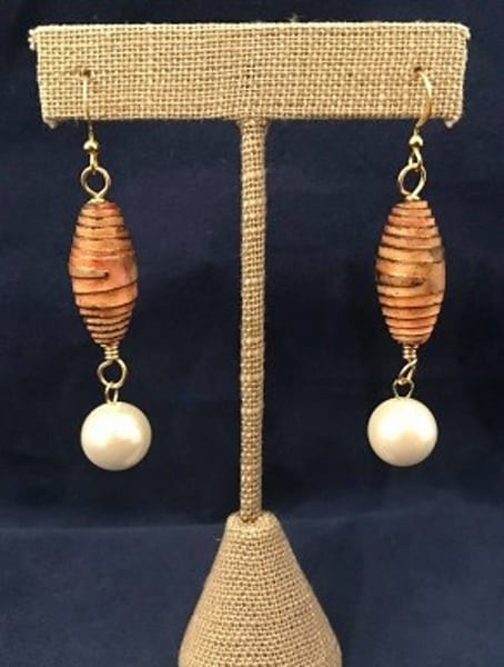 Handmade Golden Color Paper Bead and Glass Pearl Earrings