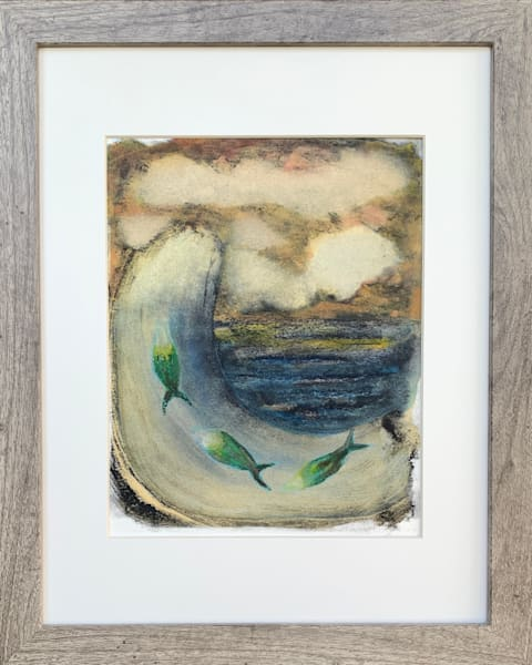 Wave with 3 Fish Original Mixed Media Monotype Work on Paper