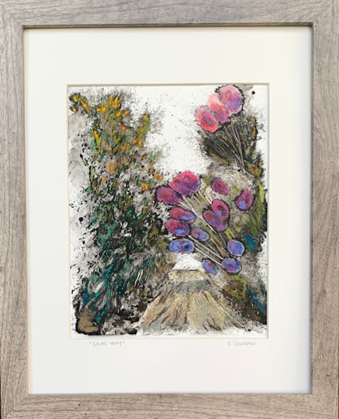 Lilac Way Original Mixed Media Monotype Work on Paper