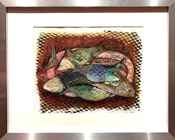 """""""Fish Platter"""" Original Mixed Media with Monotype Work on Paper"""