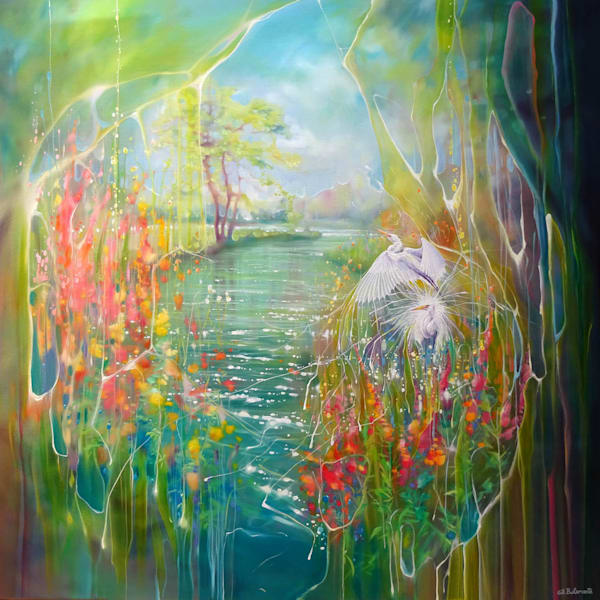 oil painting of a riverbank in summer with wildflowers and white egrets