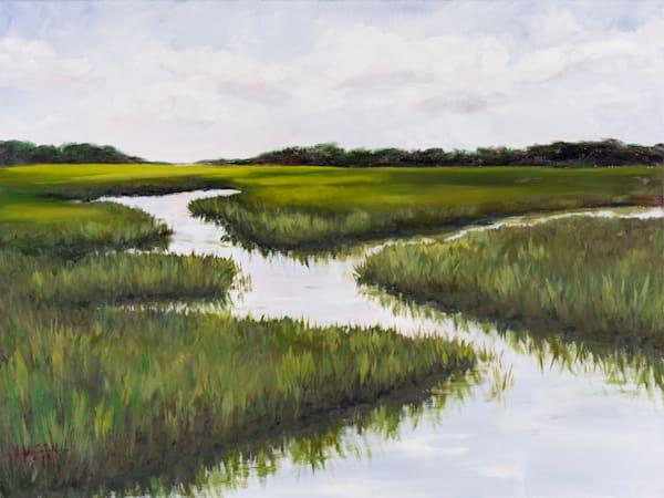 Green Summer Marsh Original Oil Painting