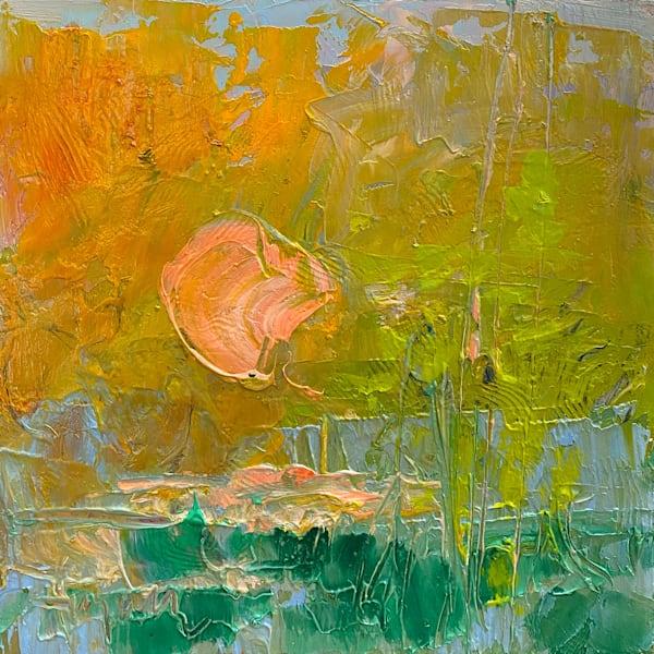 Green and Orange Abstract Horizon Painting