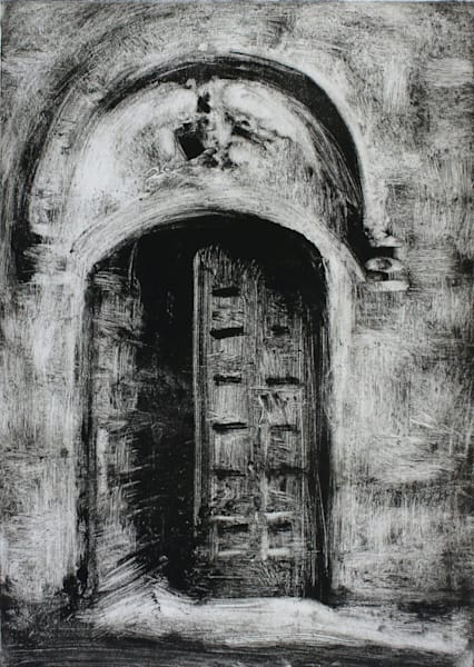 Bolsena Church Door Original Monotype Art | Michelle Arnold Paine Fine Art