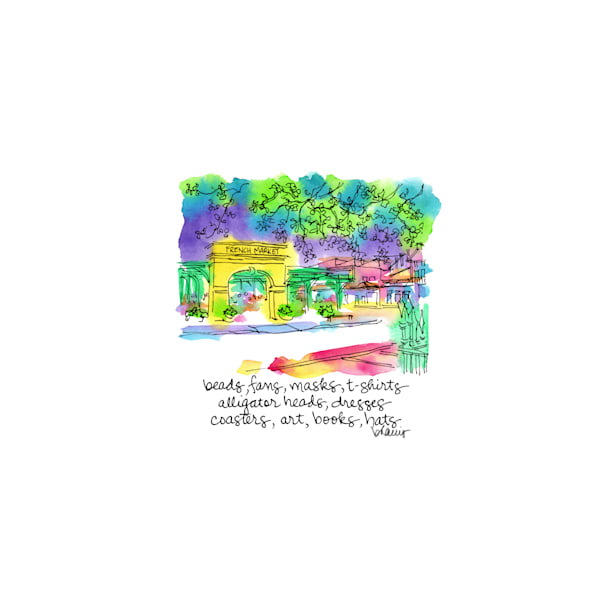 french market, french quarter, new orleans:  tiny haiku art prints in cheerful watercolor available for purchase online