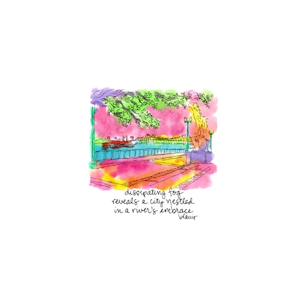 mississippi river, new orleans:  tiny haiku art prints in cheerful watercolor available for purchase online