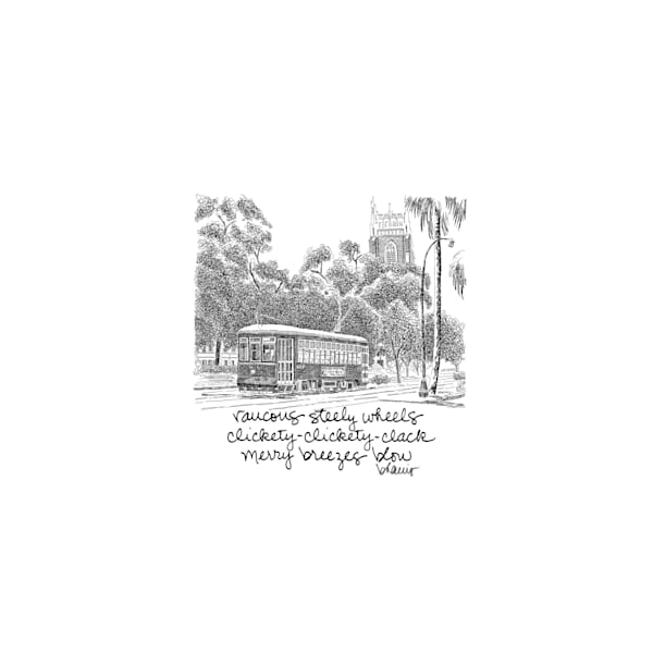 st. charles avenue streetcar, new orleans:  tiny haiku art prints in elegant pen available for purchase online