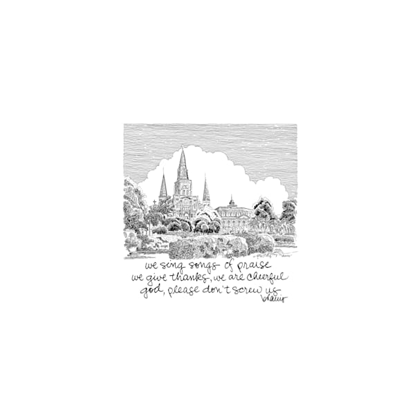 st. louis cathedral, new orleans:  tiny haiku art prints in elegant pen available for purchase online