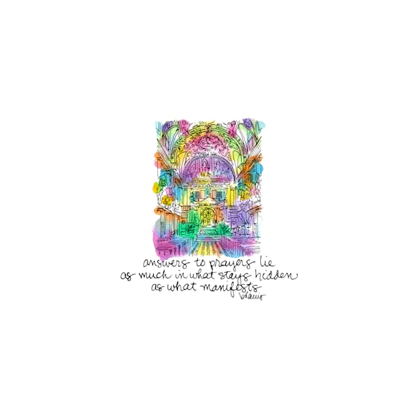 st. louis cathedral, new orleans (interior):  tiny haiku art prints in cheerful watercolor available for purchase online