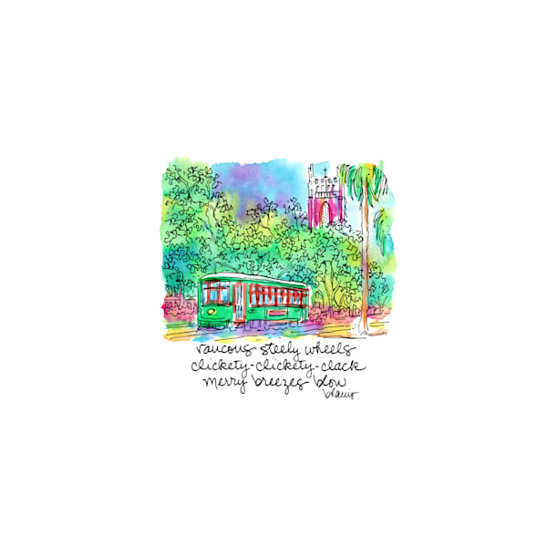 st. charles avenue streetcar, new orleans:  tiny haiku art prints in cheerful watercolor available for purchase online