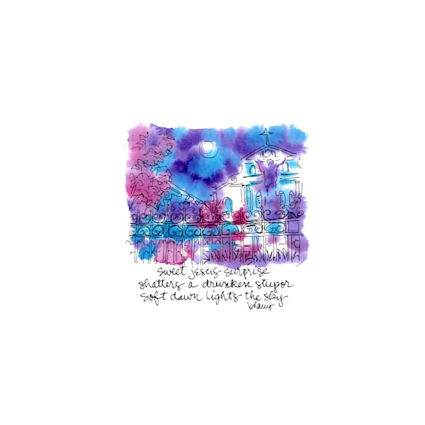 """st. louis cathedral (royal & orleans side), new orleans (""""after dark"""" collection):  tiny haiku art prints in atmospheric watercolor for sale online"""