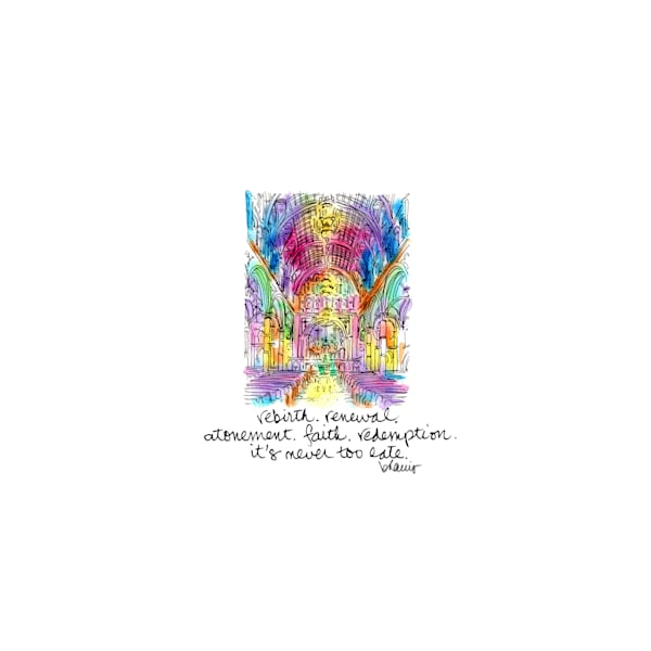 st. joseph's church, new orleans:  tiny haiku art prints in cheerful watercolor available for purchase online