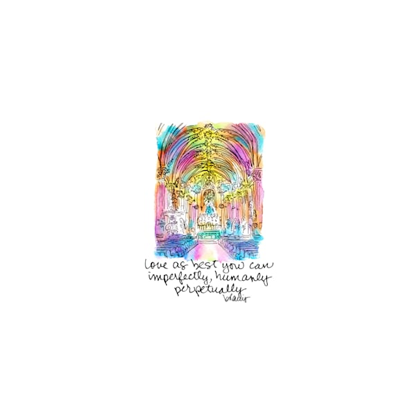 st. mary's assumption church, new orleans:  tiny haiku art prints in cheerful watercolor available for purchase online