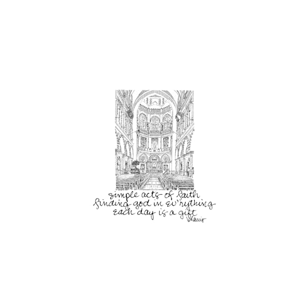immaculate conception church, new orleans:  tiny haiku art prints in elegant pen available for purchase online