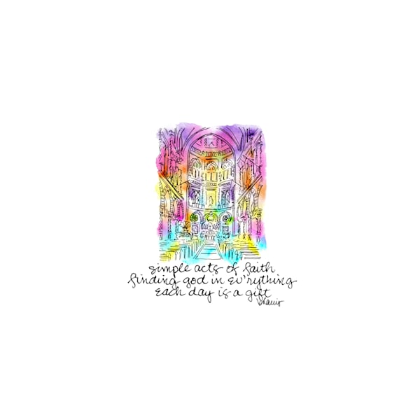 immaculate conception church, new orleans:  tiny haiku art prints in cheerful watercolor available for purchase online