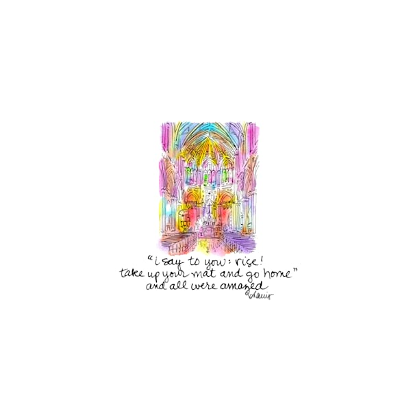 holy name of jesus church, new orleans:  tiny haiku art prints in cheerful watercolor available for purchase online