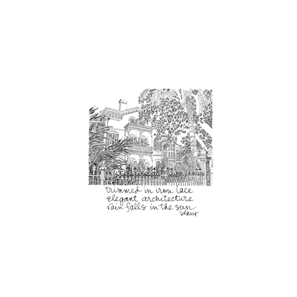 carroll-crawford house, garden district, new orleans:  tiny haiku art prints in elegant pen available for purchase online.