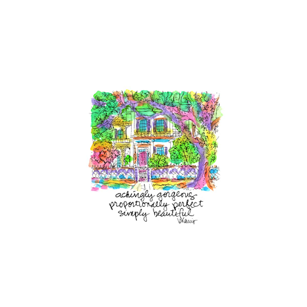 """""""anne rice house,"""" garden district, new orleans:  tiny haiku art prints in cheerful watercolor available for purchase online"""