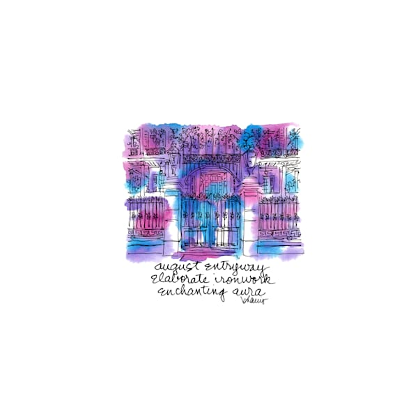 """buckner mansion, garden district (""""after dark"""" collection):  tiny haiku art prints in atmospheric watercolor available for purchase online"""