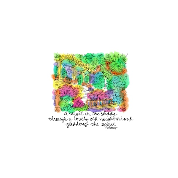 lower garden district, new orleans:  tiny haiku art prints in cheerful watercolor available for purchase online