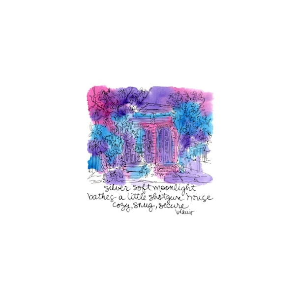 """shotgun house, french quarter (english - """"after dark"""" collection):  tiny haiku art prints in atmospheric watercolor for sale online"""