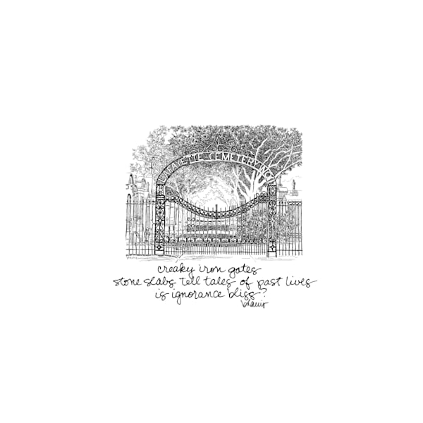 lafayette cemetery no.1, garden district, new orleans:  tiny haiku art prints in elegant pen available for purchase online