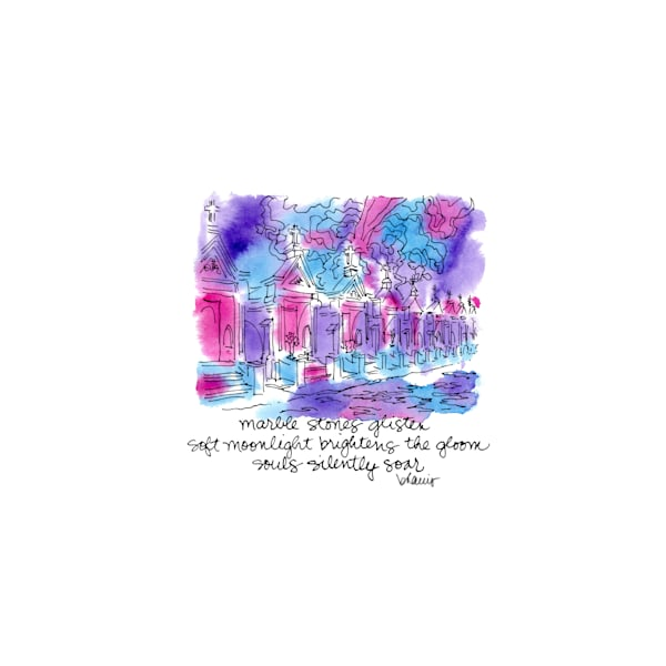 """st. louis cemetery no.3, esplanade avenue, new orleans (""""after dark"""" collection):  purchase online tiny haiku art prints in atmospheric watercolor"""