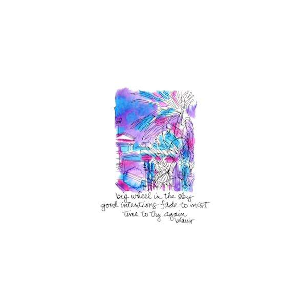 """st. louis cemetery no.2, claiborne avenue, new orleans (""""after dark"""" collection):  tiny haiku art prints in atmospheric watercolor for sale online"""