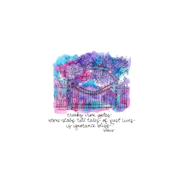 """lafayette cemetery no. 1, garden district, new orleans (""""after dark"""" collection):  tiny haiku art prints in atmospheric watercolor available for purchase online"""
