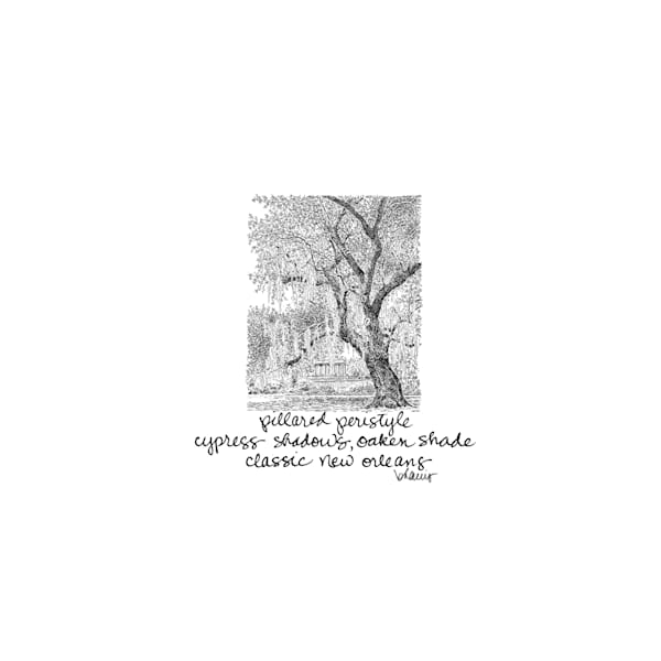 old oak grove (peristyle) city park, new orleans:  tiny haiku art prints in elegant pen available for purchase online