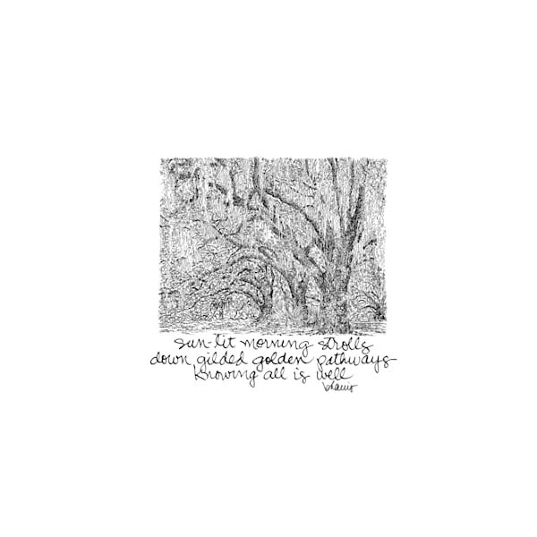 old oak grove (peristyle), city park, new orleans:  tiny haiku art prints in cheerful watercolor available for purchase online