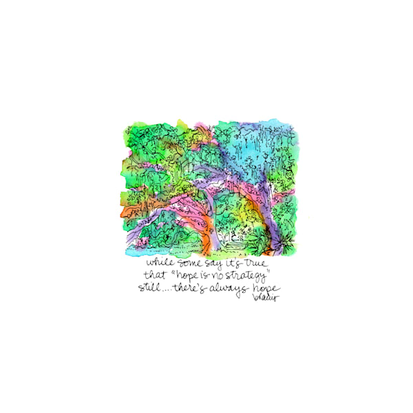 old oak grove (fountain), city park, new orleans:  tiny haiku art prints in cheerful watercolor available for purchase online