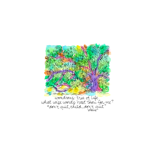 """""""tree of life,"""" audubon park, new orleans:  tiny haiku art prints in cheerful watercolor available for purchase online"""