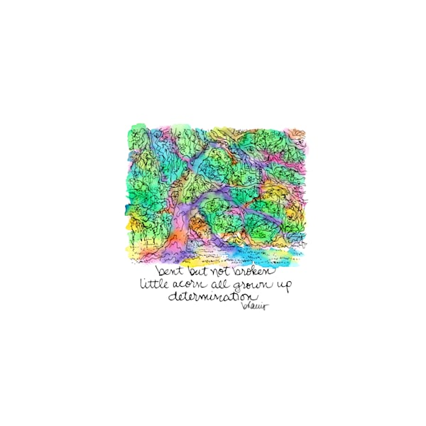 old oak grove (live oak tree), city park, new orleans:  tiny haiku art prints in cheerful watercolor available for purchase online