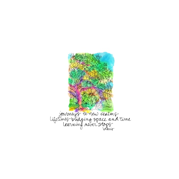 old oak grove (bridge), city park, new orleans:  tiny haiku art prints in cheerful watercolor available for purchase online