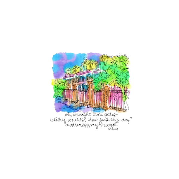 jackson square, new orleans:  tiny haiku art prints in cheerful watercolor available for purchase online