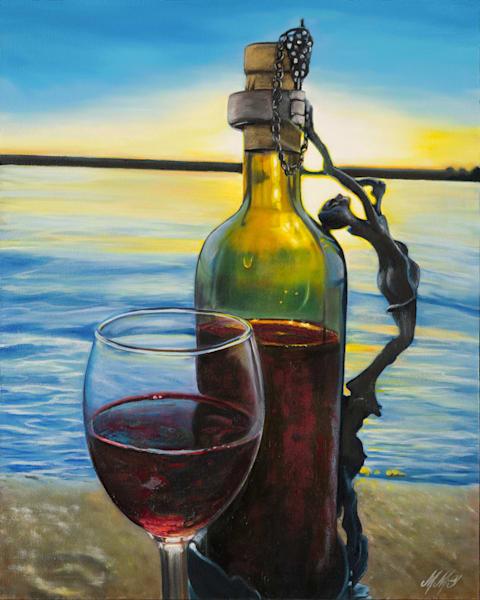 Evening Wine At Cherry Creek | Original Mixed Media Art | MMG Art Studio | Fine Art Colorado Gallery