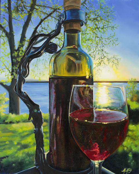 Evening Wine At Cherry Creek 2 | Original Mixed Media Art | MMG Art Studio | Fine Art Colorado Gallery