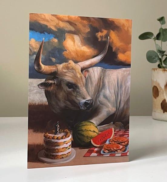 Birthday Picnic Bull Greeting Card | Kym Day Studio