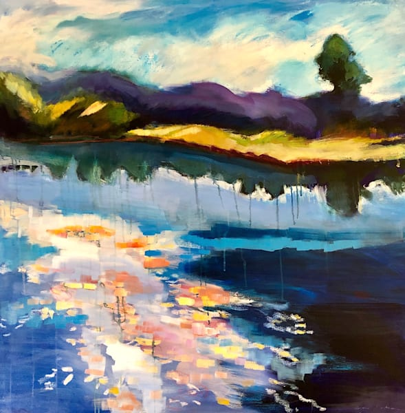 """This is a High Quality art print of Monique Sarkessian's abstracted landscape painting """"Lake Galena I Living Waters"""" custom size options available."""