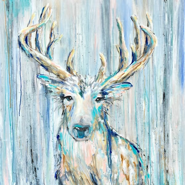 wildlife deer painting with teal and blue drippy abstract background