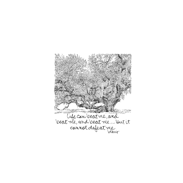 live oak tree, westbank, new orleans:  tiny haiku art prints in elegant pen available for purchase online