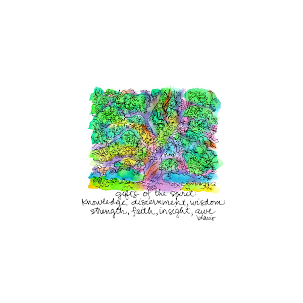 st. john cathedral oak, lafayette, louisiana:  tiny haiku art prints in cheerful watercolor available for purchase online