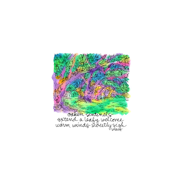live oaks, oak alley plantation, vacherie, louisiana:  tiny haiku art prints in cheerful watercolor available for purchase online
