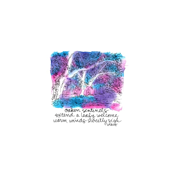 """live oaks, oak alley plantation, vacherie, louisiana (""""after dark"""" collection):  tiny haiku art prints in atmospheric watercolor available for purchase online"""