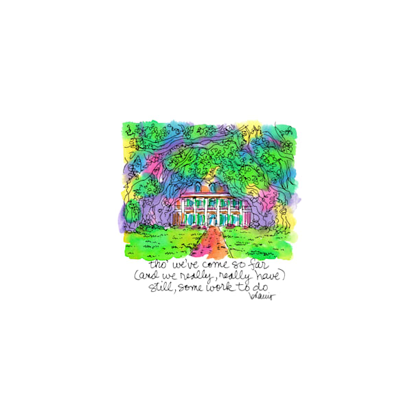 oak alley plantation, vacherie, louisiana:  tiny haiku art prints in cheerful watercolor available for purchase online